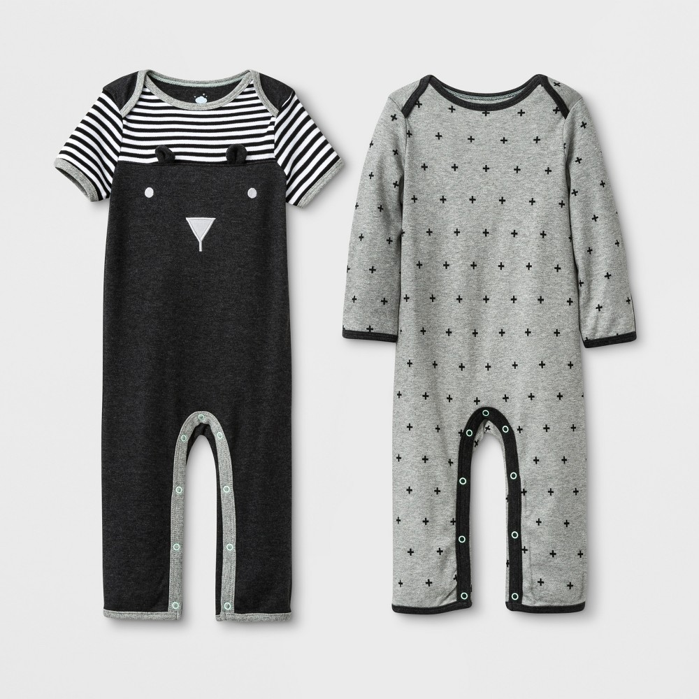 Image of Baby 2pk Coveralls - Cloud Island Black/Gray 0-3M, Kids Unisex