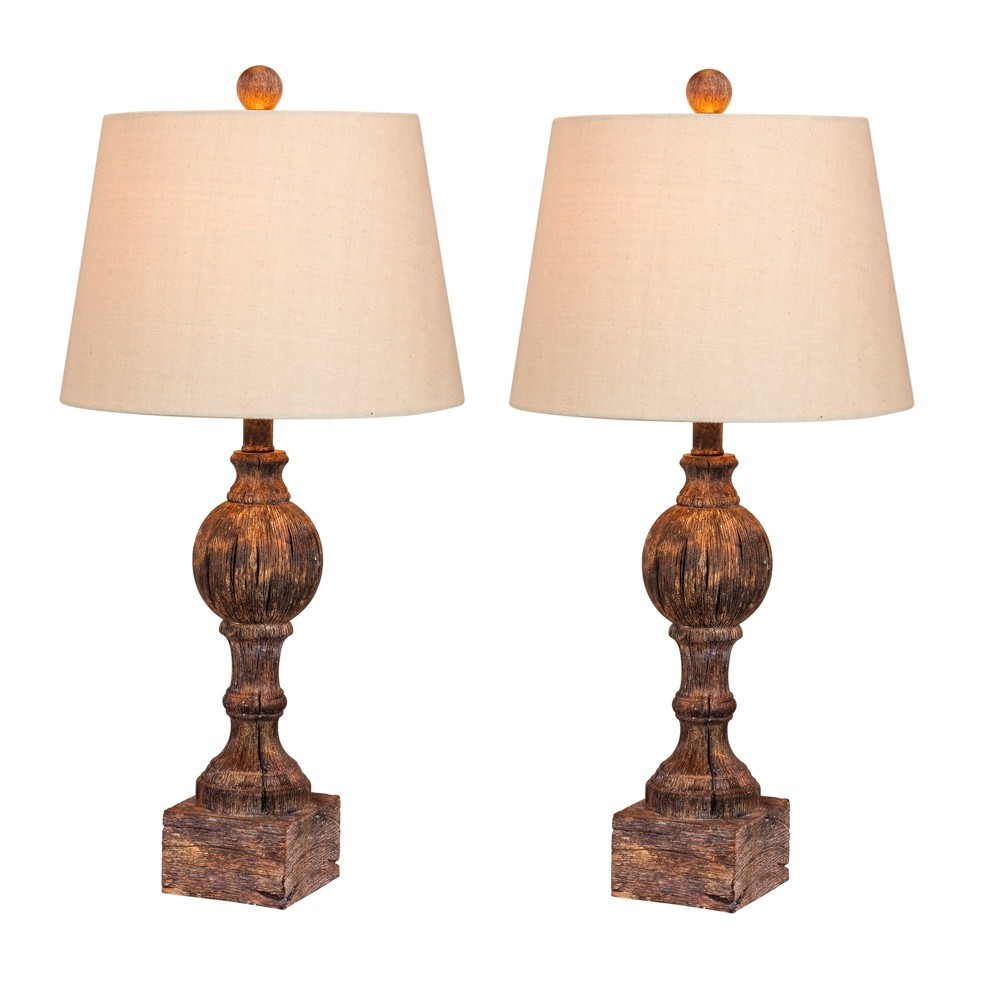 Image of 2pk Distressed Sculpted Column Resin Table Lamps Brown - Fangio Lighting