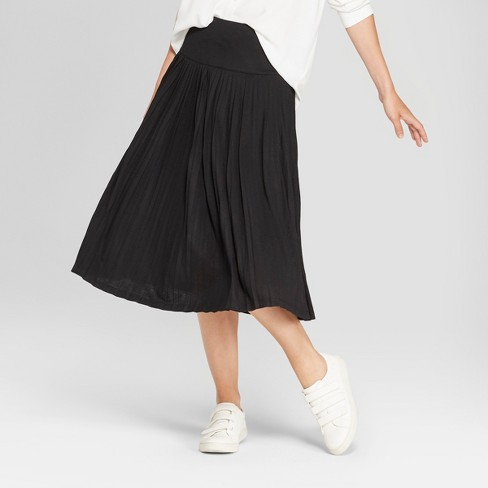 Women's Pleated Knit Midi Skirt - A New Day™ Black - image 1 of 3