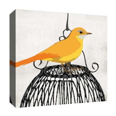 Waiting Bird Decorative Canvas Wall Art 16 x16  - PTM Images