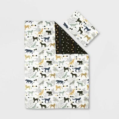 Full Safari Wild Cats DreamIt Comforter and Pillowcase  White/Green - South Shore