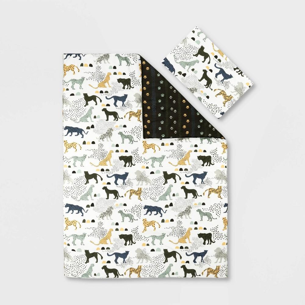 Full Safari Wild Cats Dreamit Comforter And Pillowcase White Green South Shore