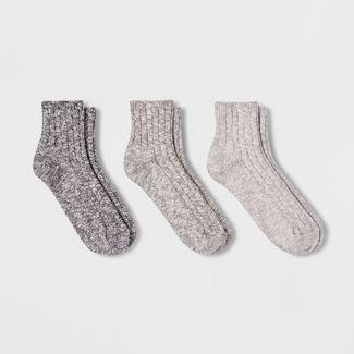 Women's Slub 3pk Ankle Socks - Universal Thread™ - Black/Gray 4-10