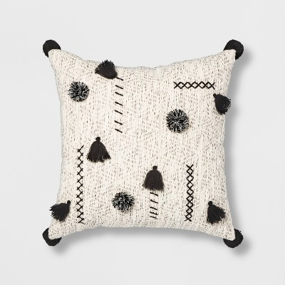 Abstract Tassel & Pom Square Throw Pillow Cream/Black - Opalhouse™