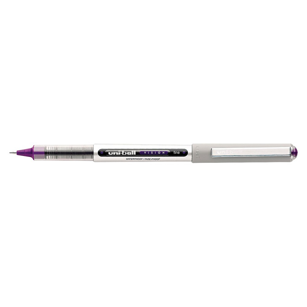 uni-ball Vision Roller Ball Stick Waterproof Pen, Fine - Purple Ink (12 Per Pack), Purple/Grey