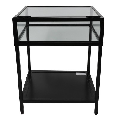 Claira Glass and Metal End Table Black - Décor Therapy