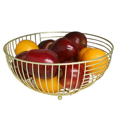 Home Basics Halo Large Capacity Steel Fruit Bowl, Gold