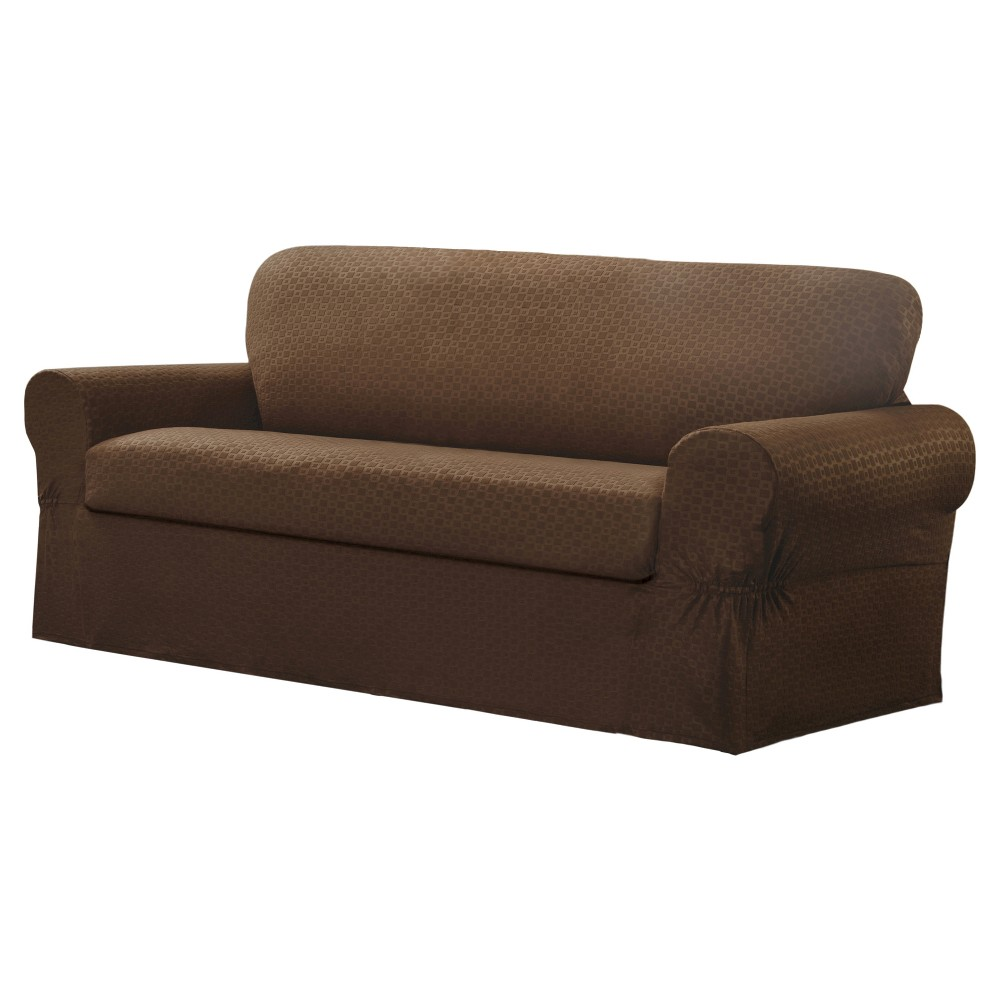 Image of Chocolate Conrad Loveseat Slipcover (2 Piece) - Maytex