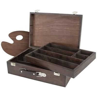 Kingart 2 Tier Wooden Artist Storage Box - Espresso