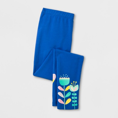 Girls' Floral Favorite Leggings - Cat & Jack™ Blue - image 1 of 2