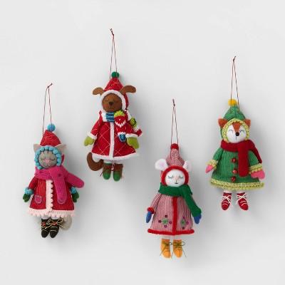 4ct Winter Dressed Animals Christmas Ornament Set - Wondershop™