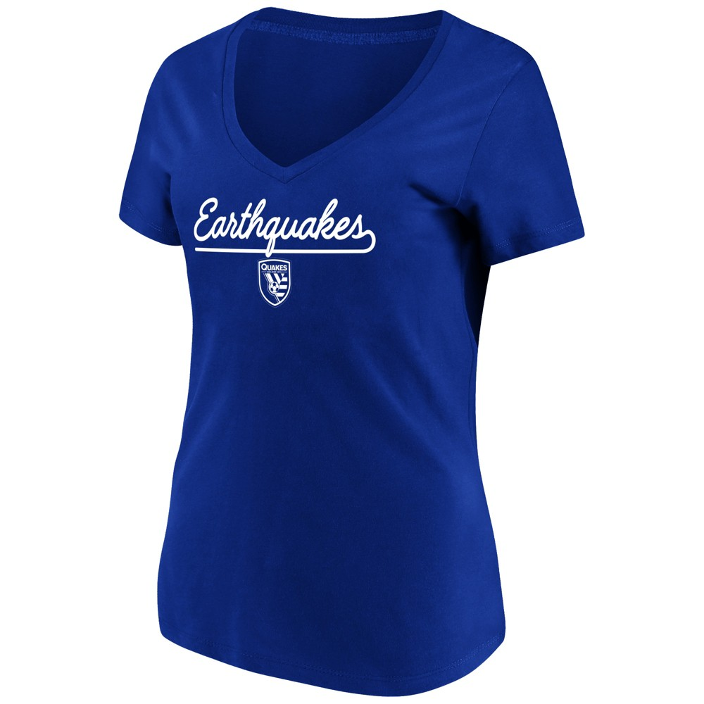 Mls Women's Short Sleeve V-Neck T-Shirt San Jose Earthquakes - Xxl, Multicolored