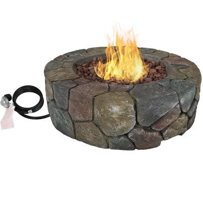 "Sunnydaze Outdoor Cast Stone Propane Gas Fire Pit Heater Kit with Lava Rocks - 30"" Diameter"
