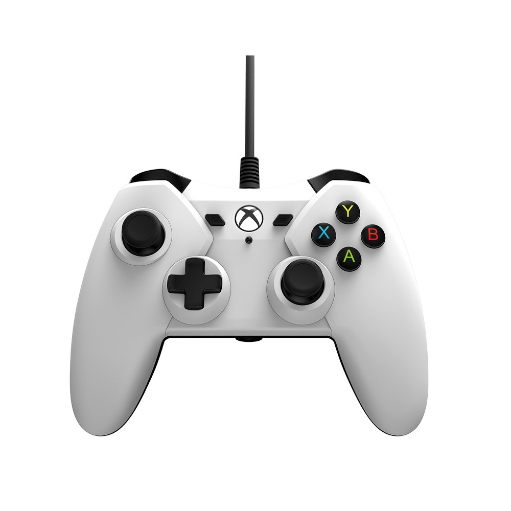 PowerA Wired Controller for Xbox One & Windows - White The Officially licensed Power A Wired Controller for Xbox One features textured analog sticks, dual rumble motors, impulse triggers, a 3.5mm audio jack, and a 9.8ft in-line release cable. Color: White.
