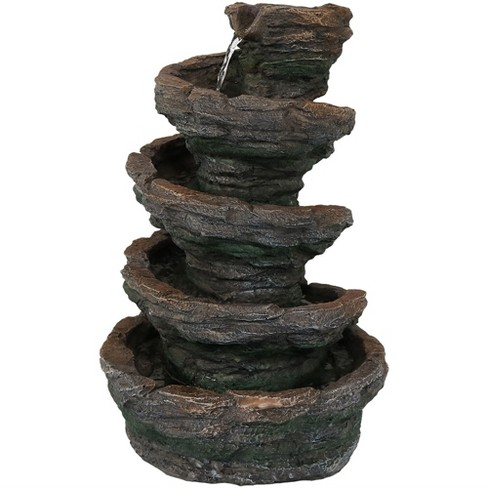 """16""""H Polyresin Rocky Mountain Slide Indoor Tabletop Water Fountain with LED Light - Sunnydaze Decor - image 1 of 4"""