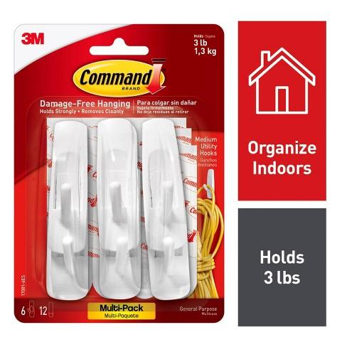 Command 6 Hooks 12 Strips Medium Sized Utility Hooks Value Pack White - image 1 of 4
