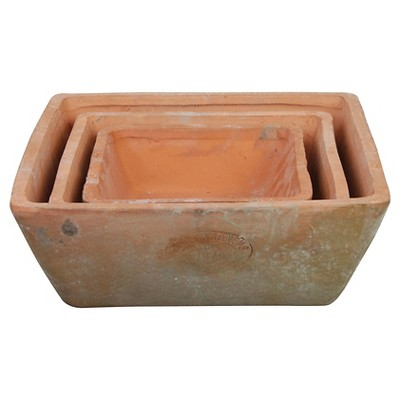 3pc Terracotta Square Pots Brown - Esschert Design
