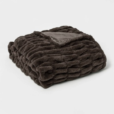 "60"" x 86"" Faux Fur Oversized Throw Blanket Dark Gray - Threshold Signature™"