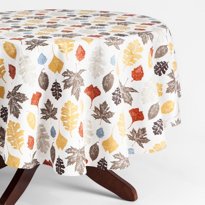 70'' Round Multi Leaf Tablecloth Cream - Threshold™