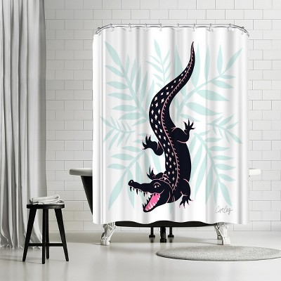 """Americanflat Navy Mint Crocodile by Cat Coquillette 71"""" x 74"""" Shower Curtain"""