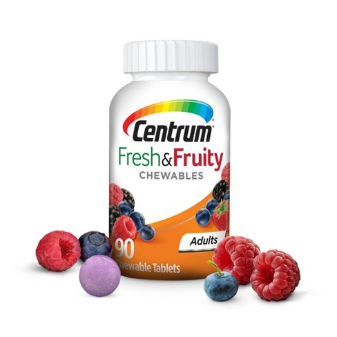 Centrum Adults Fresh & Fruity Chewables Multivitamin / Multimineral Supplement - Mixed Berry - 90ct - image 1 of 4