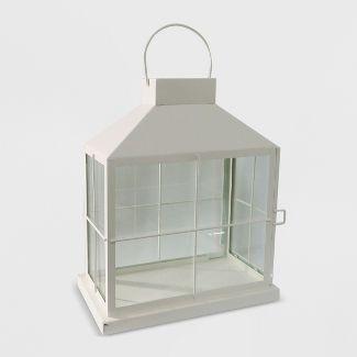 """14"""" Rectangle Outdoor Lantern White - Threshold™"""