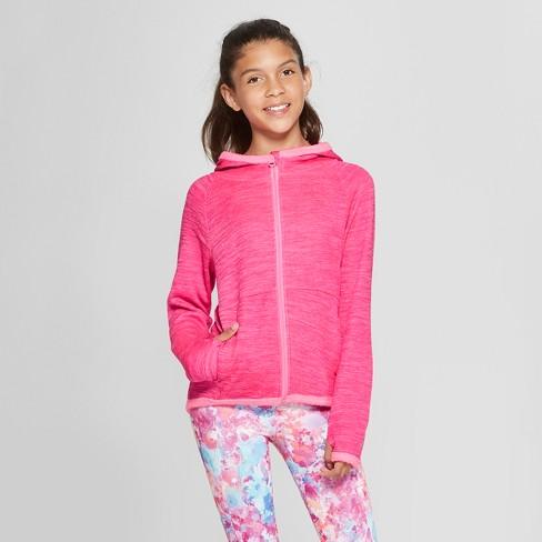 Girls' Cozy Tech Fleece Sweatshirt - C9 Champion® Pink Spacedye M - image 1 of 3
