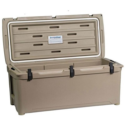 Engel 123 High Performance 108-Quart Portable Durable Rotomolded Airtight 130 Can Hard Cooler and Ice Box for Camping, Sports Events, & Fishing, Tan