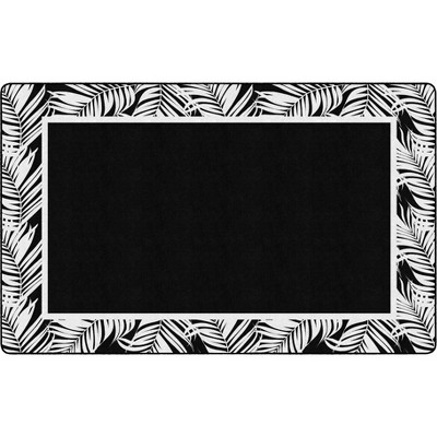 """7'6""""x11' Rectangle Indoor and Outdoor Floral Nylon Accent Rug Black - Flagship Carpets"""