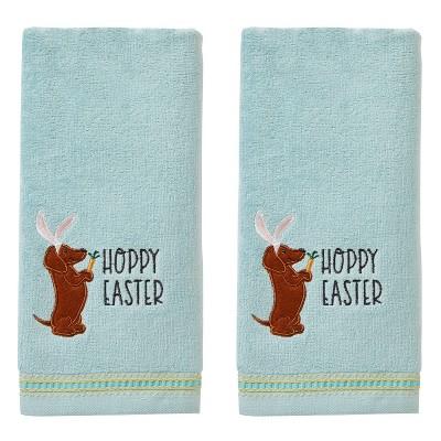 2pk Hoppy Easter Hand Towel Set Aqua - SKL Home