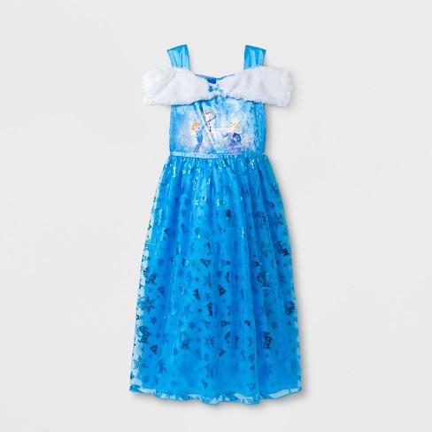 Girls\' Disney Frozen Dress Up Gown Nightgown - Blue : Target