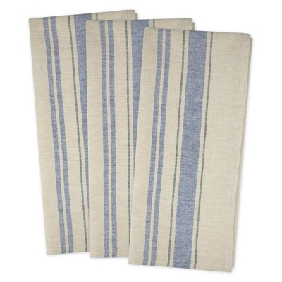 3pk Cotton French Stripe Woven Dishtowels Blue - Design Imports