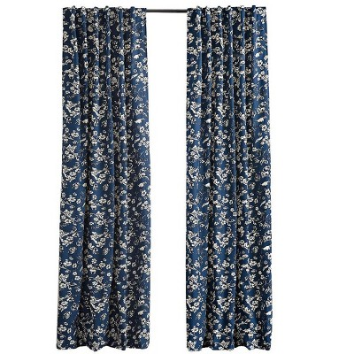 "Floral Damask Rod-Pocket Homespun Insulated Curtain Panel, 42""W x 84""L"