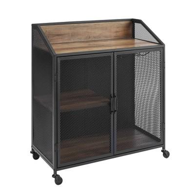 Carter Industrial Metal Mesh Bar Cart on Wheels - Saracina Home
