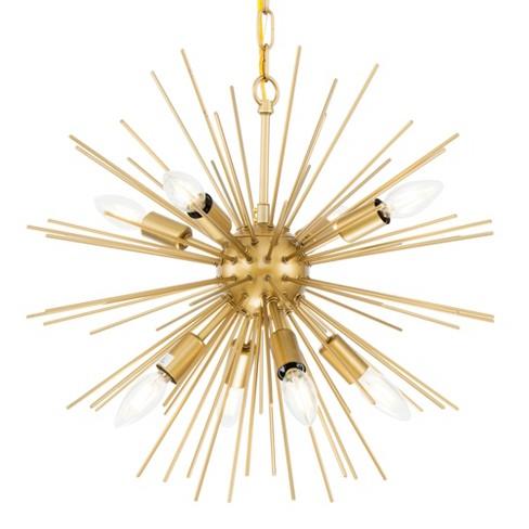 Elegant Lighting Ld5036d20 Timber 8 Light 20 Br Sputnik Chandelier