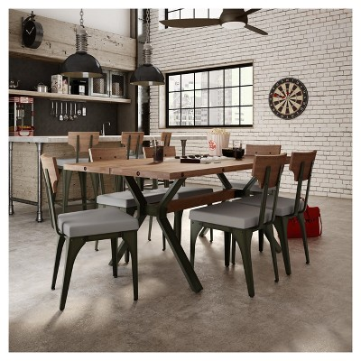 Rally Metal Dining Chair With Distressed Wood Backrest 2 In Set   Amisco :  Target