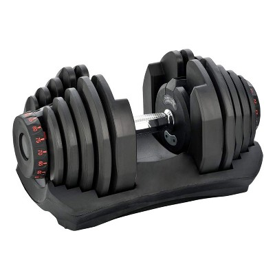 HolaHatha 10 to 90 Pound Adjustable Dumbbell Free Weight with Storage Tray for Home Gym Workout and Fitness Activities, Single