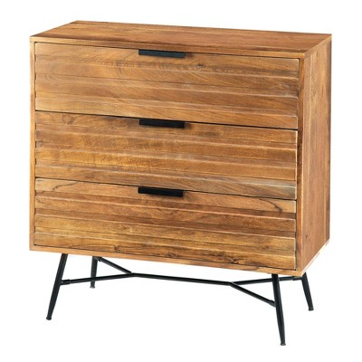 3 Drawer Wooden Chest with Slanted Metal Base Brown/Black - The Urban Port
