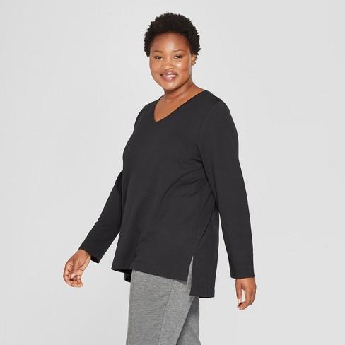 43bd0b284 Women's Plus Size Long Sleeve V-Neck T-Shirt - Ava & Viv™ : Target