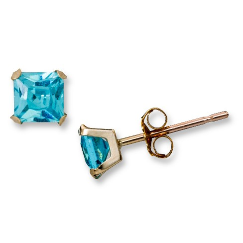 "Cubic Zirconia Square Blue ""Martini"" Stud Earrings in 10k Yellow Gold (4mm) - image 1 of 1"