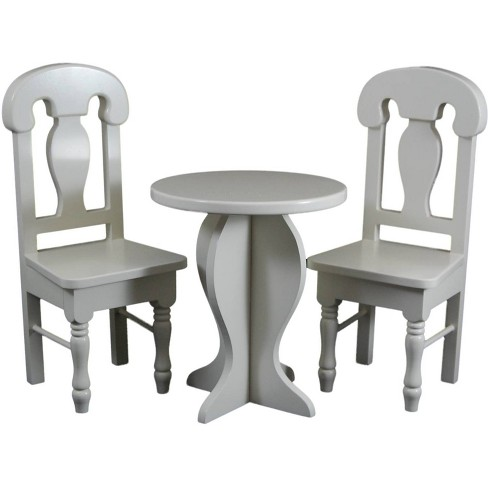 The Queen S Treasures 18 Inch Doll Furniture Cream Wooden Caf Or Kitchen Table And Two Chairs Target