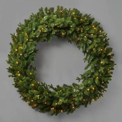 48in Prelit Artificial Wreath Natural Clear Lights - Wondershop™