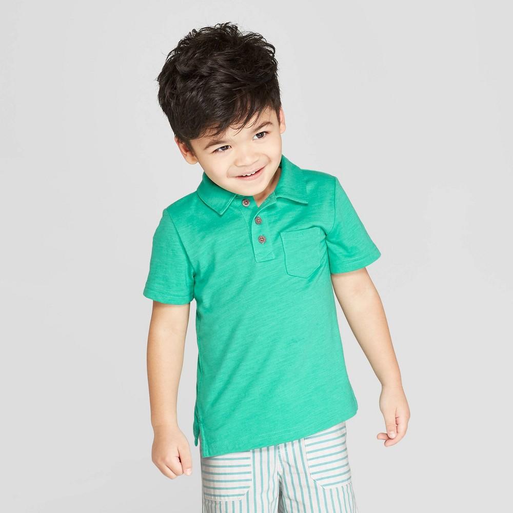 Toddler Boys' Short Sleeve Slub Jersey Polo Shirt - Cat & Jack Tropic Green 3T