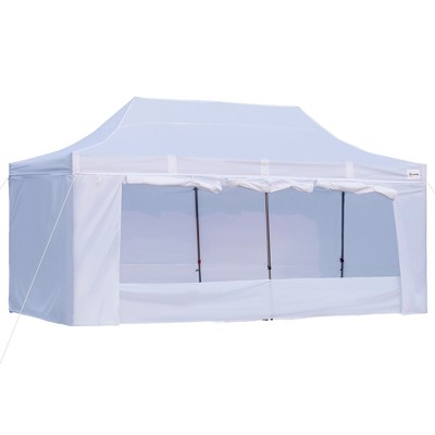 Outsunny 10' x 20' Heavy Duty Pop Up Canopy with 7 Removable Zippered Sidewall, Bottom Privacy Sidewall, Roller Bag, Upgraded Tube, Party Event