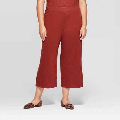 Women's Plus Size Wide Leg Knit Cropped Pants   Ava &Amp; Viv by Ava & Viv