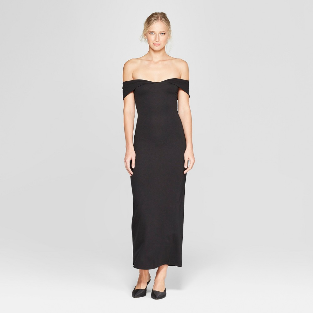 Women's Off the Shoulder Knit Maxi Dress - Who What Wear Black L