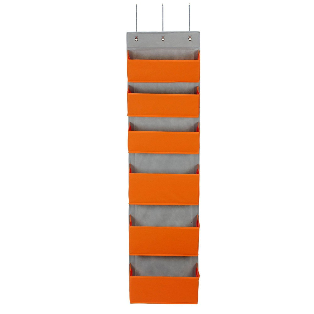 Image of Household Essentials 6 Pocket Over The Door Organizer Orange