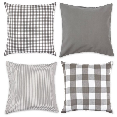 4pk Assorted Throw Pillow Covers Gray/White - Design Imports