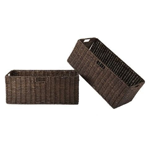 2pc Granville Foldable Large Corn Husk Baskets Chocolate - Winsome - image 1 of 3