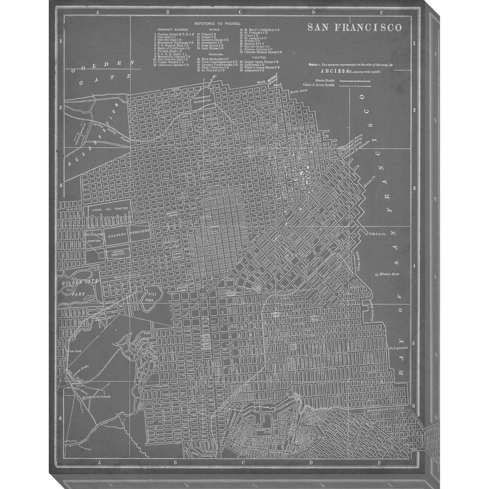 Image of City Map of San Francisco Unframed Wall Canvas Art - (24X30)